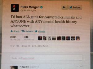 Piers Morgan guns tweet blog DEC 2012