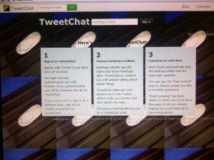 This is what you'll see when you first log in to tweetchat.com - type the hashtag into the box